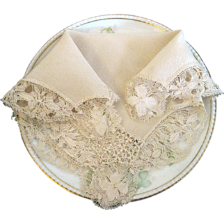 Silk Hanky With Hand Made Lace