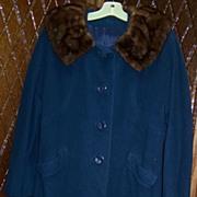 Vintage Royal Blue Cashmere Coat  w/Mink Collar