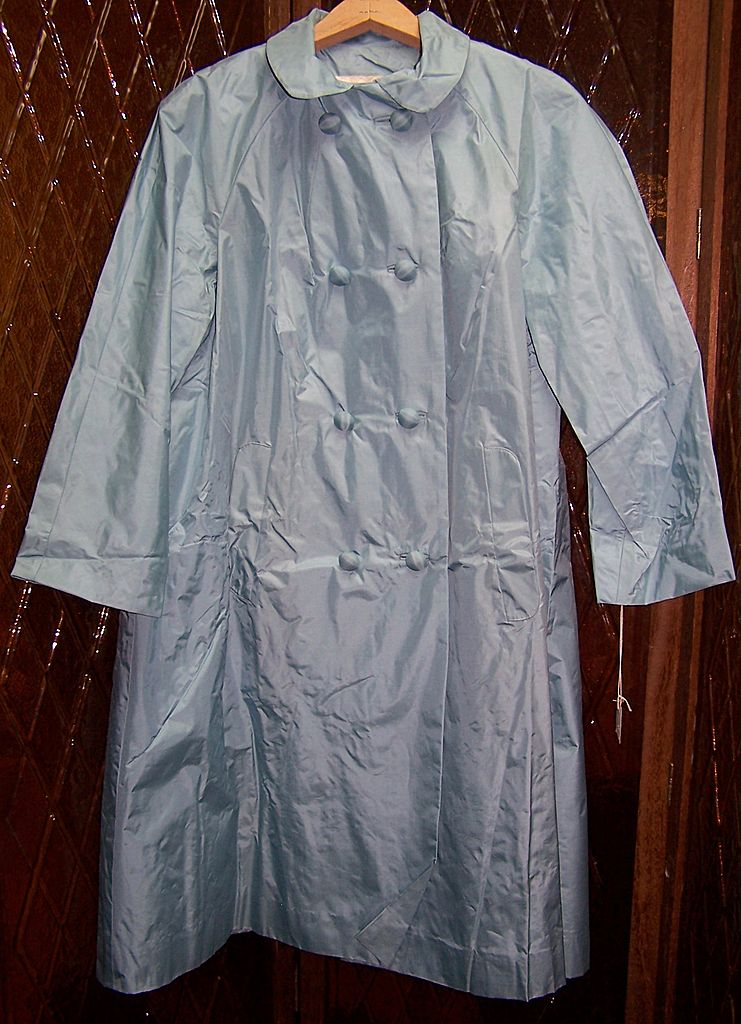 Vintage 1960's Sky Blue Silk All Weather Coat