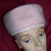 "Vintage Pink Pill Box ""Jackie"" Style Hat, Circa 1960's"