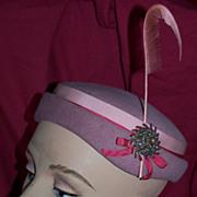 Vintage Spectator Style Hat, Circa/ 1950-60's
