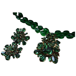 Vintage Miriam Haskell Emerald Green Necklace & Earrings