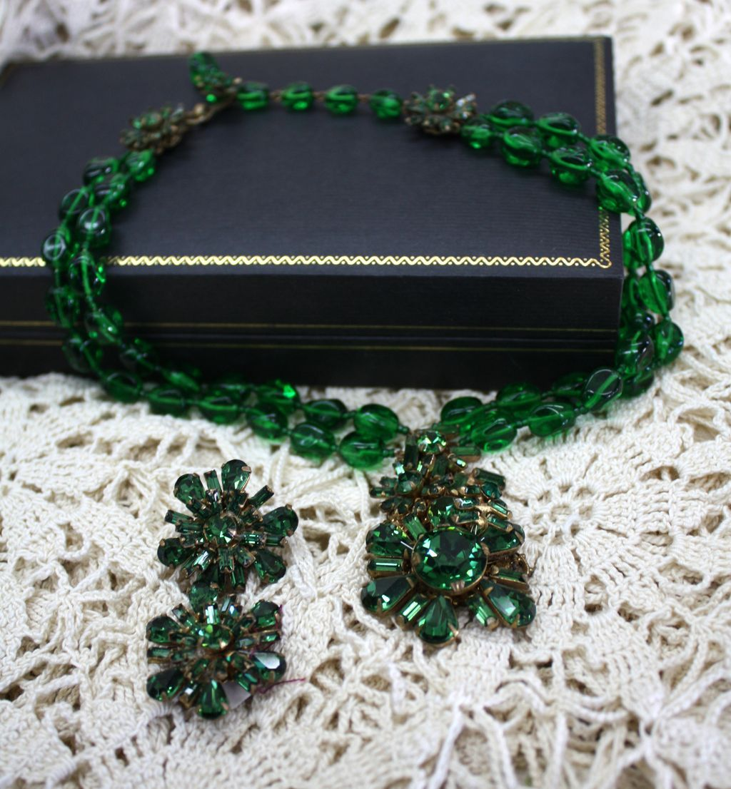 Vintage miriam haskell emerald green necklace earrings from