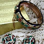 Vintage Eisenberg Enamel Bangle & Earrings