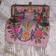 Vintage Floral on Pink Beaded Purse Circa/1920's