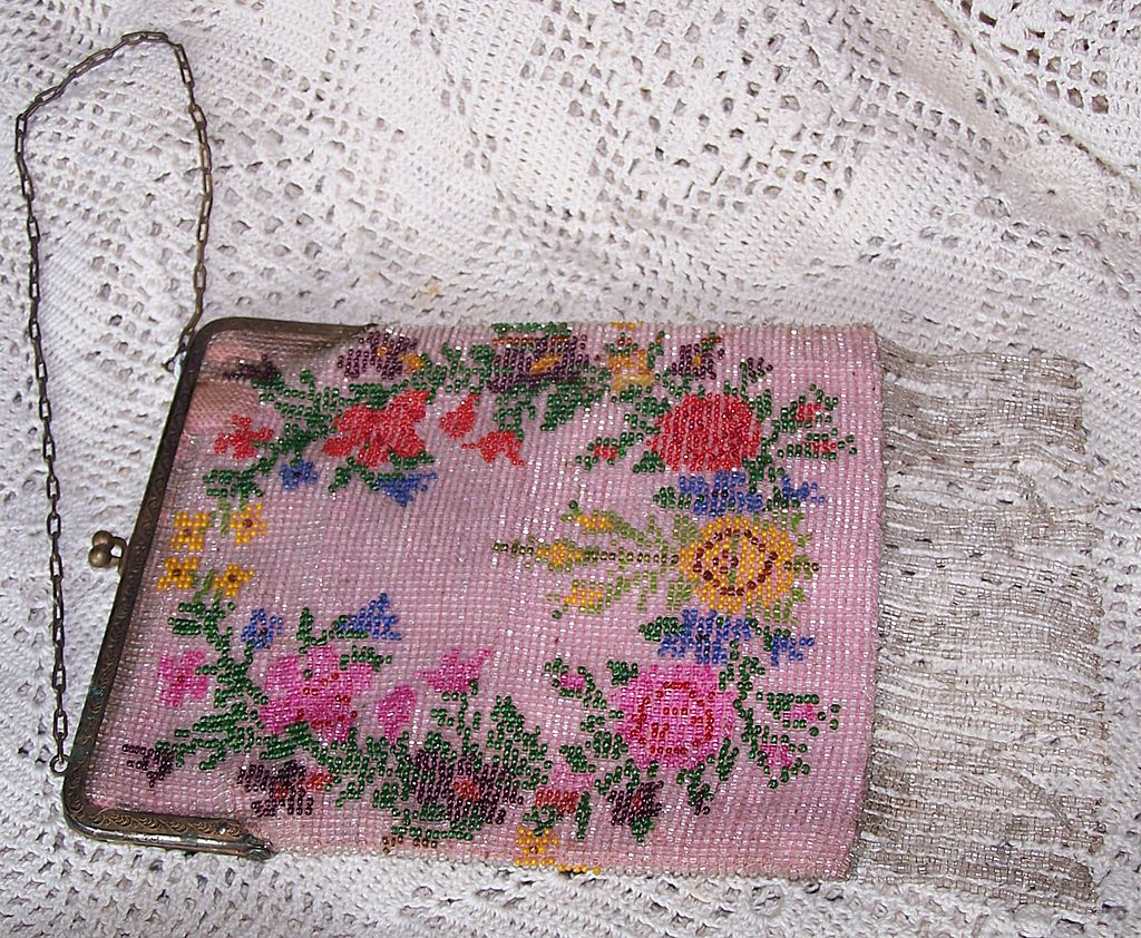 Vintage floral on pink beaded purse circa 1920 s from hattiesattic on