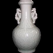Vintage Celadon Vase with Incised Design