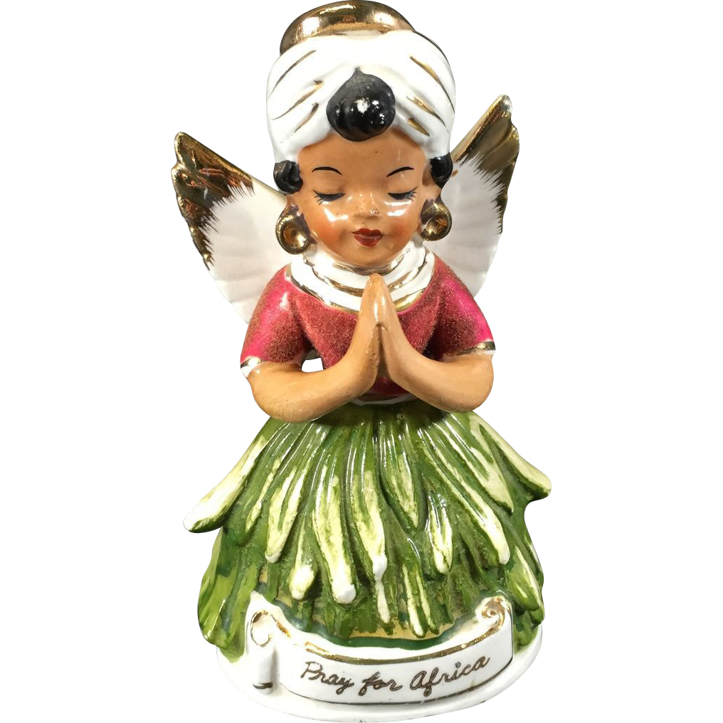 Vintage Angel Figurine Pray for Africa