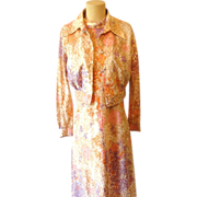 Vintage Maxi Dress w Bolero Jacket Psychadelic Retro Fashion
