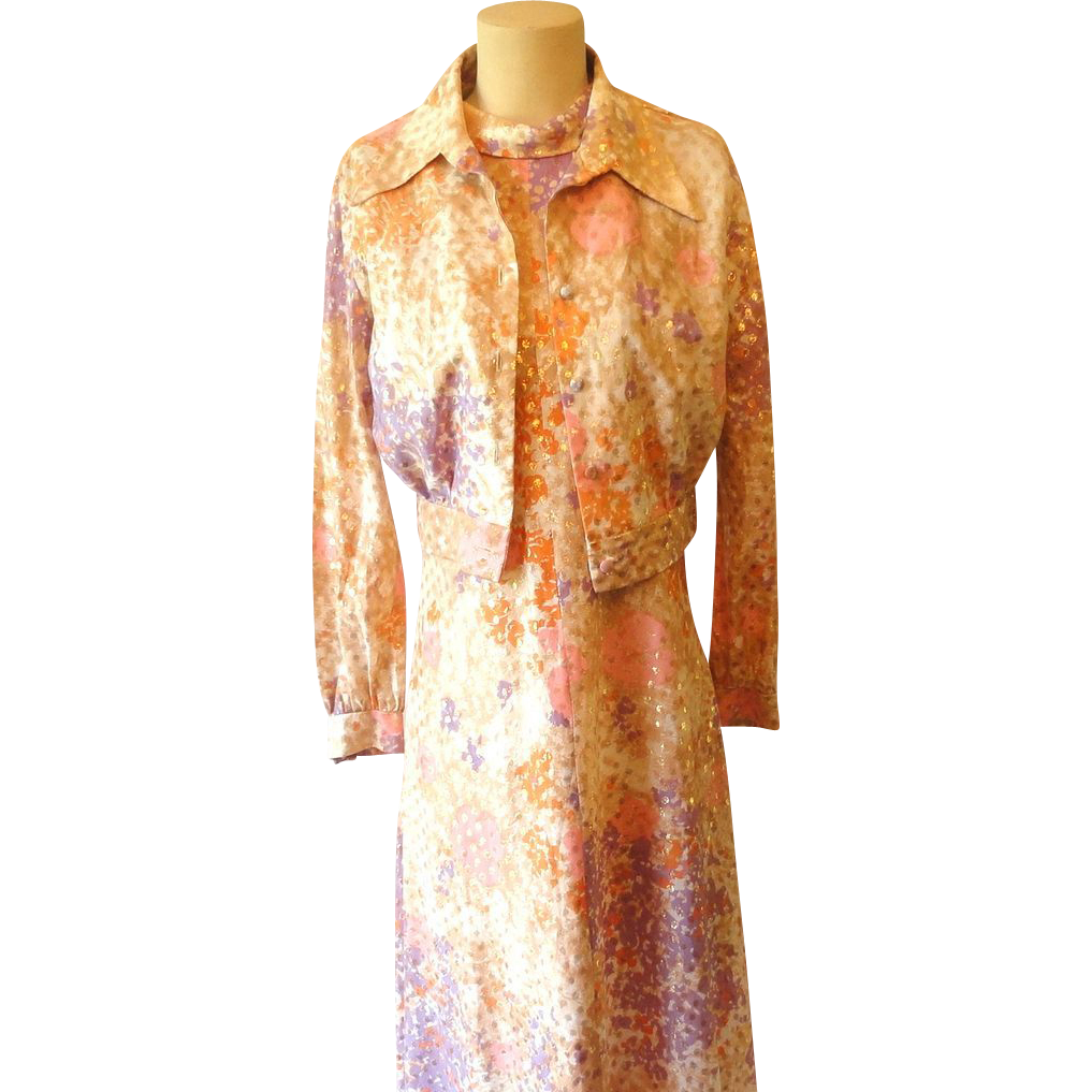 Retro Psychadelic Fitted Maxi Dress w Bolero Jacket