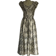 Stunning Silver & Gold Brocade Metallic Two Piece Formal Gown
