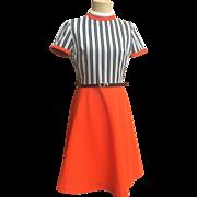 Retro Mod Orange Dress w/ Black & White Striped Bodice
