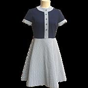 Retro Mod Navy / White Checked Color Block Geometric Dress