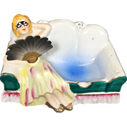 Rare Reclining Lady on Settee Ashtray w Large Nodder Fan