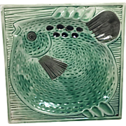 Vintage Ashtray Mid-Century Pottery w Fish