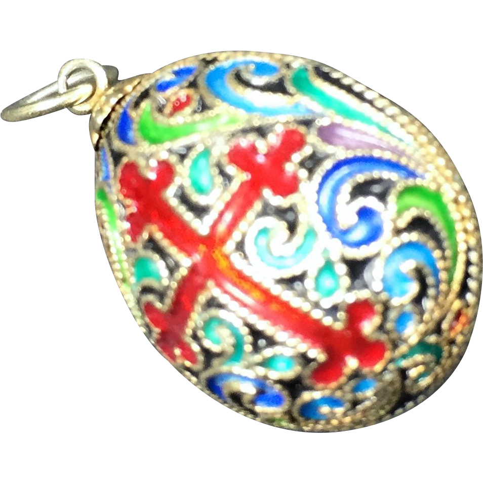 Russian Enamel & Sterling Silver Filigree Egg Pendant