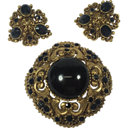 Florenza Victorian Style Brooch & Earrings w Black Cabochon & Rhinestones