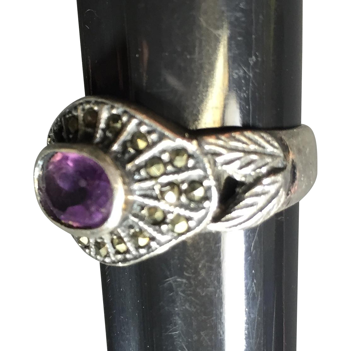 Sterling & Marcasite Amethyst Ring