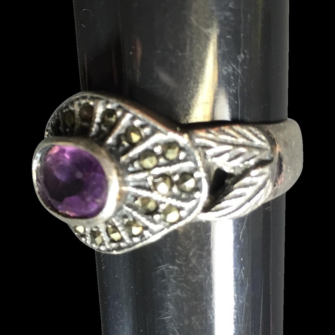 Vintage Sterling & Marcasite Amethyst Ring