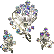 Vintage Coro Rhinestone Brooch & Earrings Blue Aurora Borealis Flower