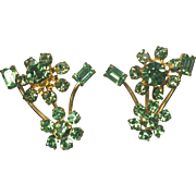 Vintage Rhinestone Earrings Floral Austrian Sea Green