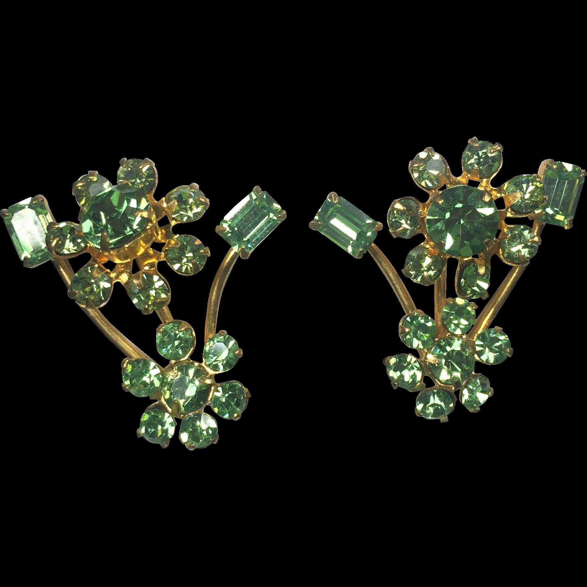Vintage Austrian Green Sea Foam Rhinestone Earrings