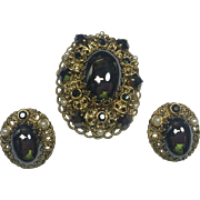 Vintage Western Germany Brooch & Rhinestone Earrings w Hematite Cabochons
