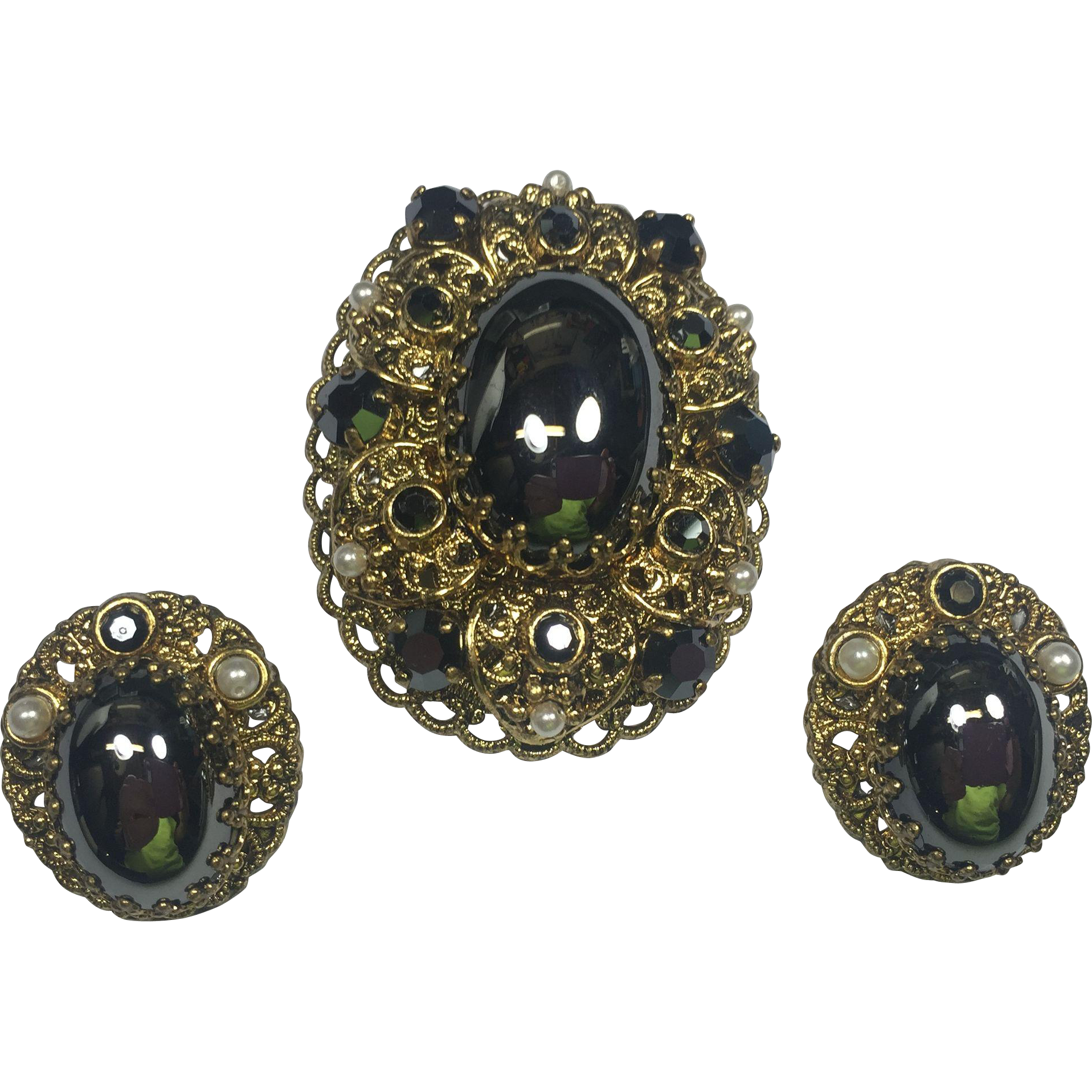 Western Germany Brooch & Rhinestone Earrings w Hematite Cabochons & Rhinestones