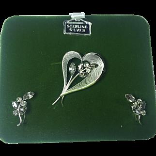 Dansel Sterling Heart & Smoky Rhinestone Brooch & Earrings w Box