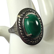 Vintage Sterling & Green Faux Malachite Stone Ring