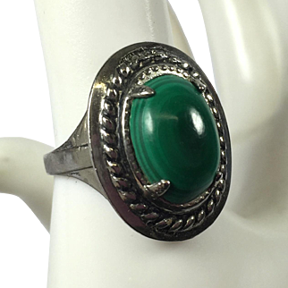 LSP Co Sterling & Green Malachite Stone Ring