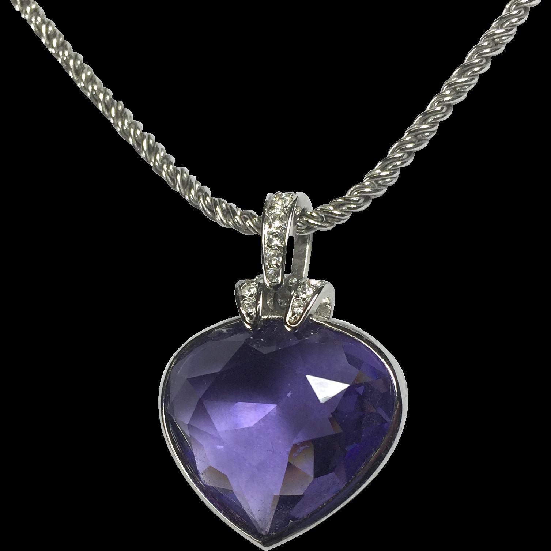 swarovski amethyst crystal heart pendant necklace from