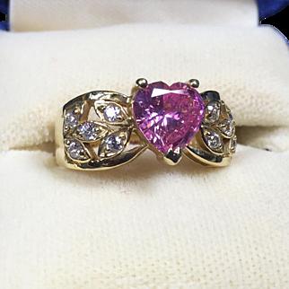 Morgan Fairchild Diamonique 14K Gold Pink Crystal Heart Ring