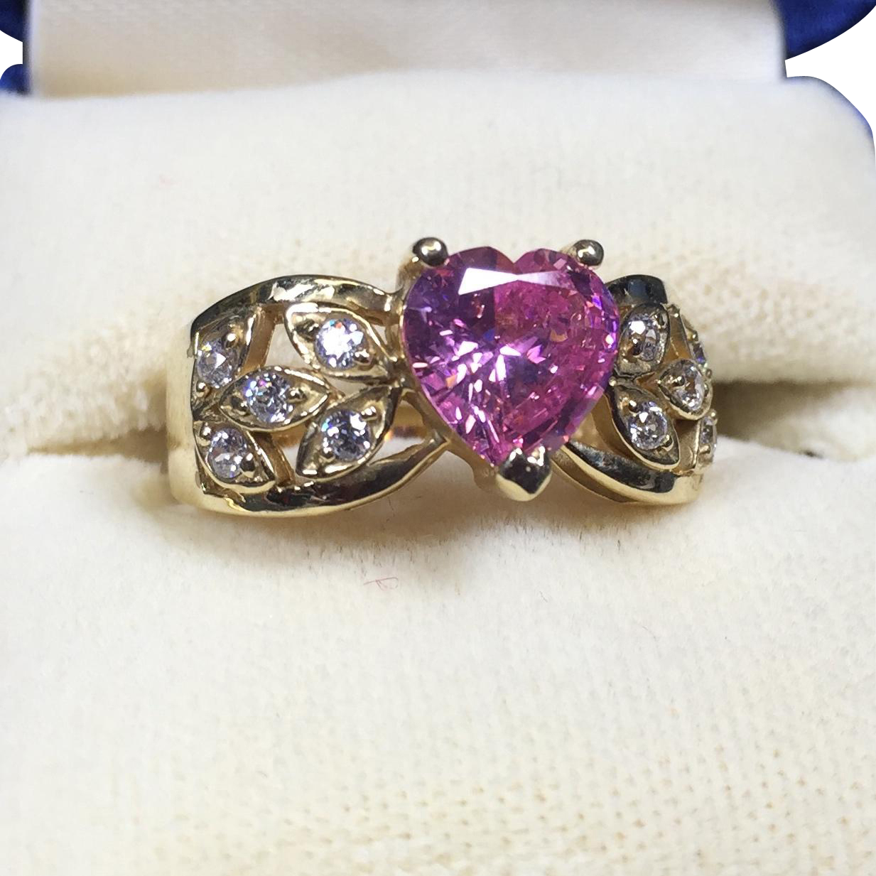 Morgan Fairchild Diamonique 14K Gold Pink Crystal Heart Ring
