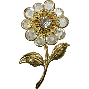Vintage Crystal Brooch Flower Bezel Filigree Setting