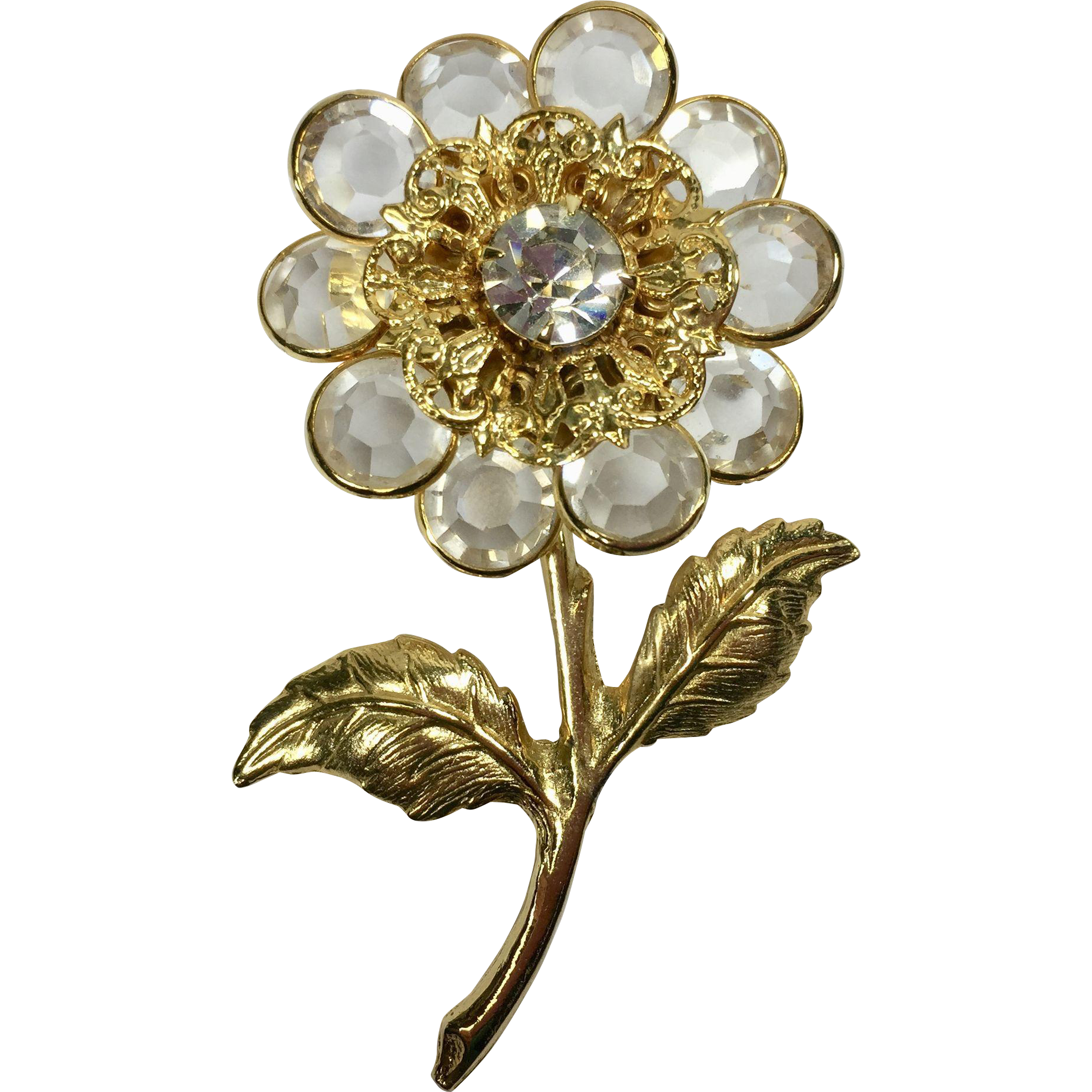 Vintage Crystal Bezel Flower Brooch w Filigree Setting