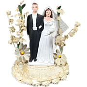 Chalkware Bride & Groom Wedding Cake Topper w Display Dome & Paper Flowers