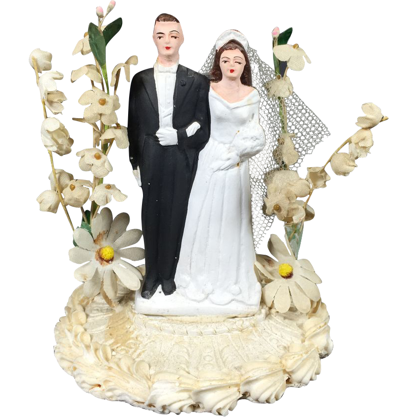 Chalkware Bride Groom Wedding Cake Topper W Display Dome Paper Flowers