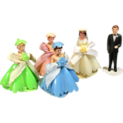 Vintage Plastic Miniature Wedding Groom, Bride & Bridesmaids Party Decoration Set Cake Toppers - Red Tag Sale Item