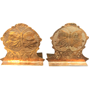 Vintage Copper Bookends Art Nouveau Butterfly