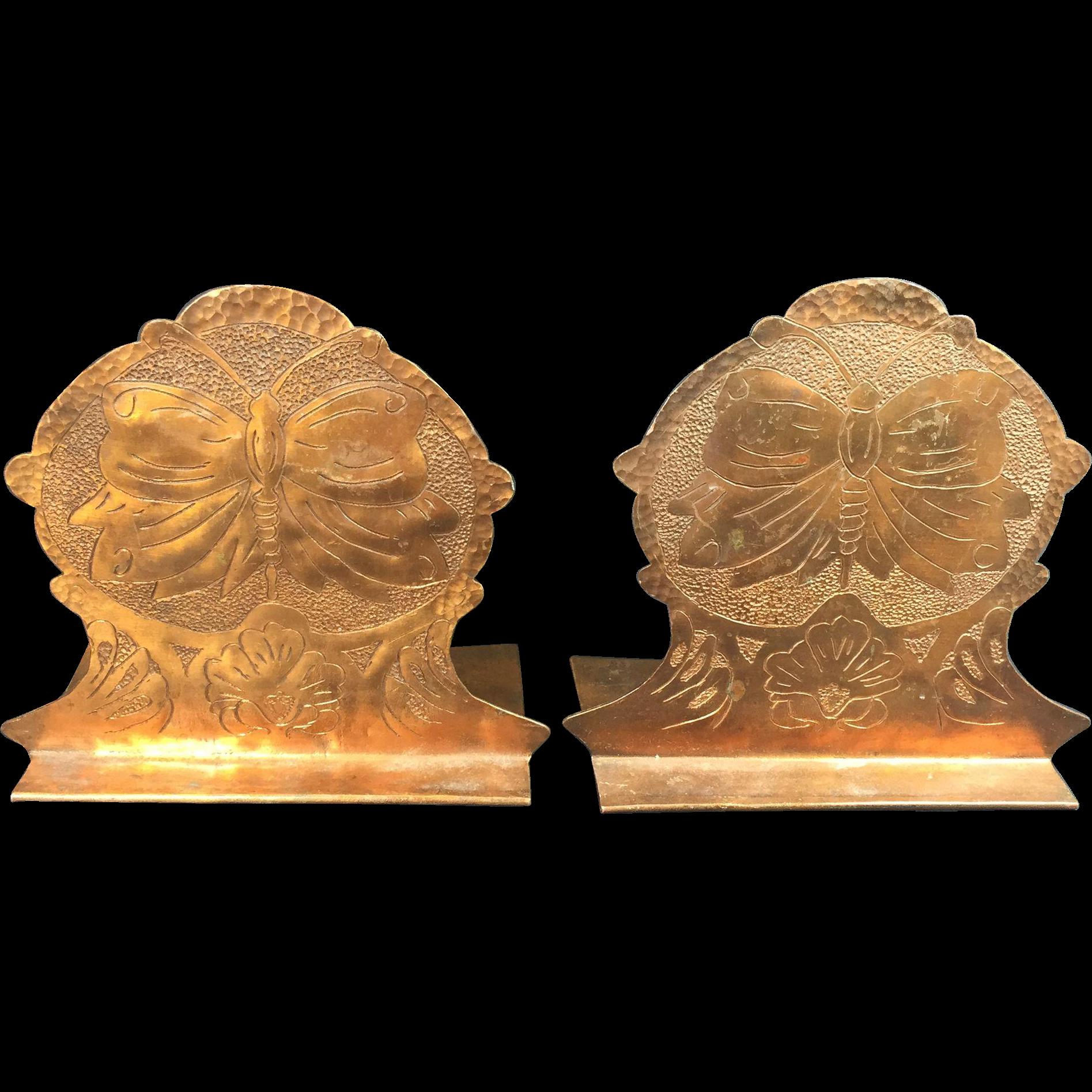 Vintage Copper Bookends Art Nouveau Butterfly
