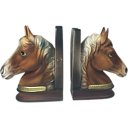 Vintage Ceramic Horse Head & Shoe Bookends