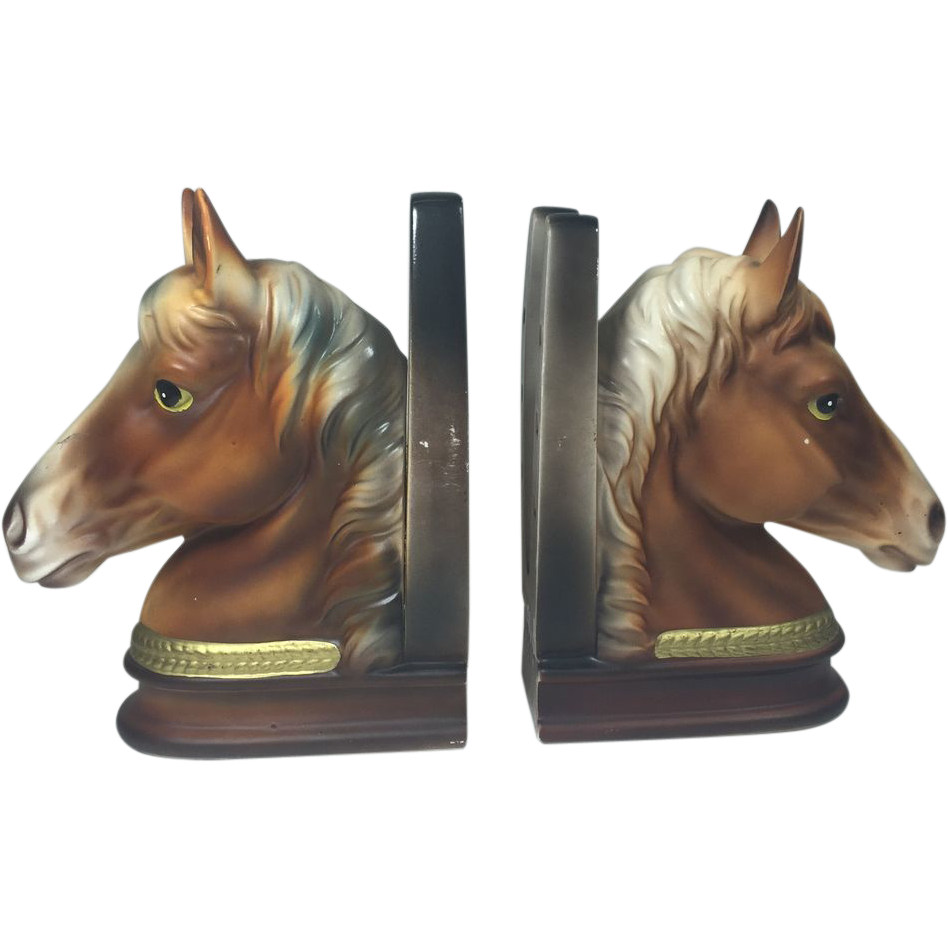 Vintage Horse Head & Shoe Bookends Ceramic