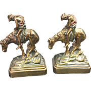 "Vintage ""End of the Trail"" Native American Brass Bookends"