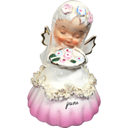 Napco June Bride Angel Bell w Spaghetti Trim S1307F