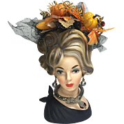 Tall Napco Lady Head Vase w Fall Halloween Foliage & Jewelry