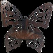 Folk Art Carved Corner Butterfly Shelf