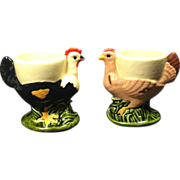 Pair Vintage Ceramic Rooster Chicken Egg Cups