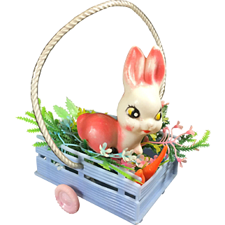 Vintage Easter Plastic Kitschy Bunny Rabbit in Cart Rolling Wheels