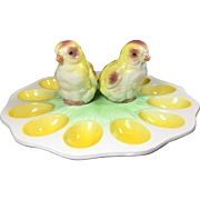 Vintage Chick Salt & Pepper Shakers on Egg Plate